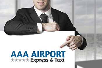 AAA Airport Express Logo held up by chauffeur